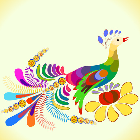Beautiful peacock vector in oldest style
