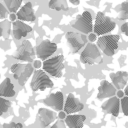 vector ornaments: Seamless flowers pattern on white background with butterfly