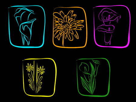 Neon flowers on a black background