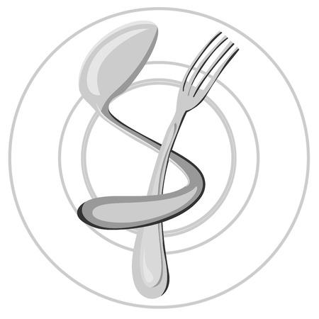 Food, restaurant logo. Illustration