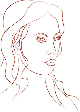 The portrait of a beautiful girl Vector