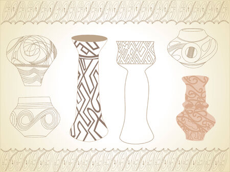 coordinating: Stylized vases with coordinating design elements