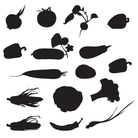 Set of 16 silhouettes of vegetables