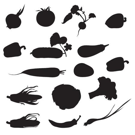 Série de 16 silhouettes de légumes