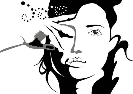 Mysterious silhouette of a beautiful girl Illustration