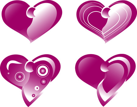 A set of hearts on a white background Vector