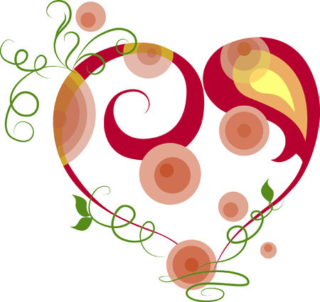 Stylized red heart. Element for design