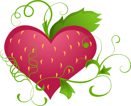 The heart of the character of strawberries Vector