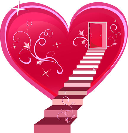 heart vector: Doors are open to the heart . Element for design