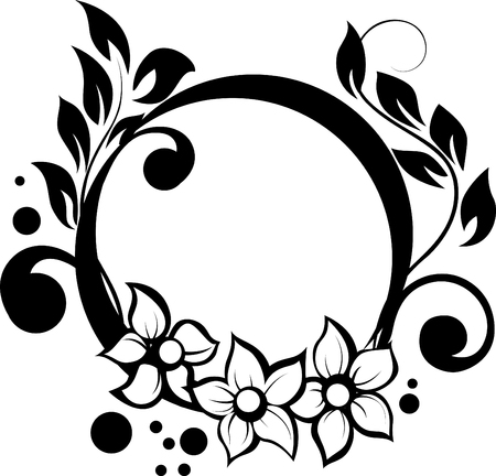 illustration with floral frame decoration on white background Vector