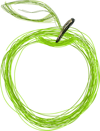 green apple: Art. Ilustraci�n vectorial de la manzana verde