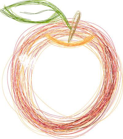 Art. Vector illustration of red apple Illustration
