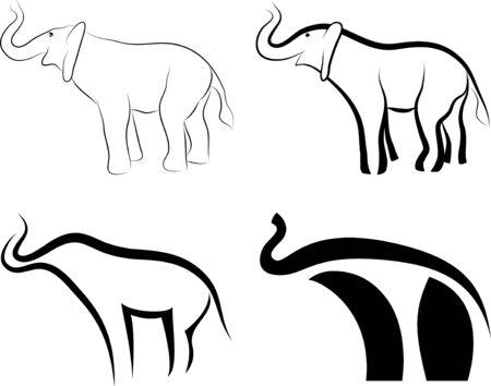 silhouettes elephants: colecci�n de s�mbolos de los elefantes