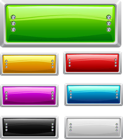 Collection of seven glossy buttons in various colors Illustration
