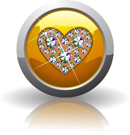 Symbol of the heart, inlaid with precious stones Swarovski Illustration