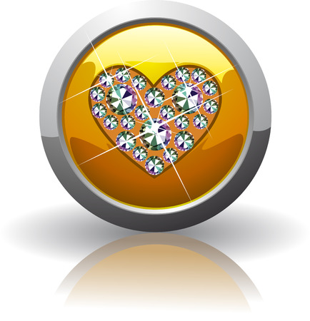 jewelry vector: Symbol of the heart, inlaid with precious stones Swarovski Illustration