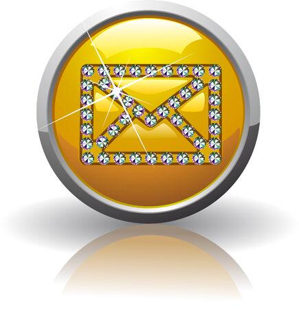 Symbol of the Internet mail, inlaid with precious stones Swarovski Illustration
