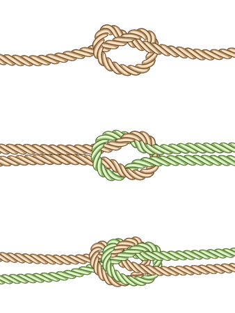 wire rope: art illustration of 3 different knots