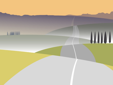 Road to mountains on a decline