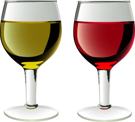 glasses of wines in vector  Иллюстрация