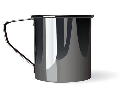 Metal mug on white background. Vector illustration.