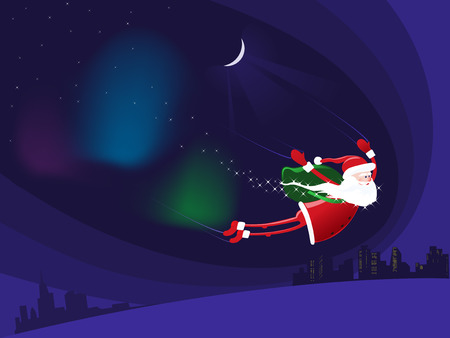 Santa Claus coming down from heaven on the night on the town  Illustration