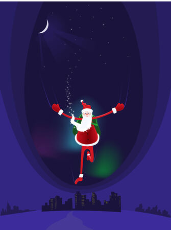 DOWN TOWN: Santa Claus coming down from heaven on the night on the town  Illustration