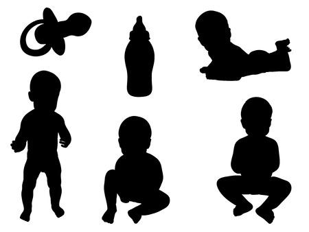 Baby Silhouetten  Vektorgrafik