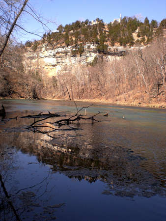 ha: Natural spring and castle ruins at Ha Ha Tonka State Park in the Missouri Ozarks Stock Photo