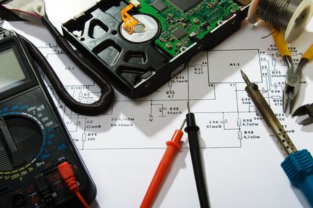 abstract photo of electronics repair