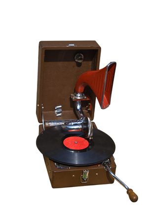 photo of retro gramophone with disc isolated over white background photo