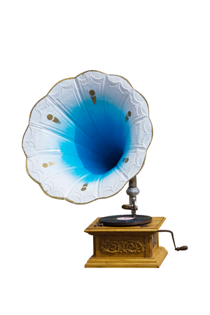 antique phonograph: photo of retro gramophone with disc isolated over white background