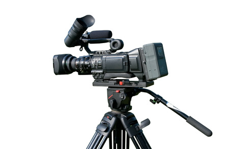 Modern digital video camera isolated over white background Stock Photo