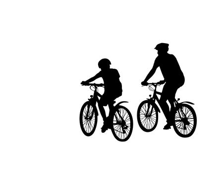 two cyclist silhouette isolated over white background
