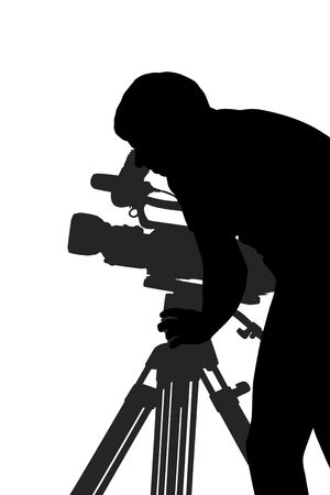 man shooting film silhouette isolated over white background Stock Photo