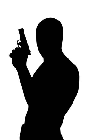 gangster background: Gangster silhouette with gun isolated Stock Photo