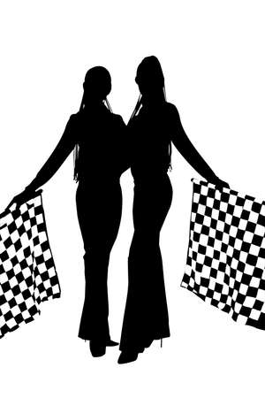 Silhouette of two girls with checkered flags on formula one competition photo