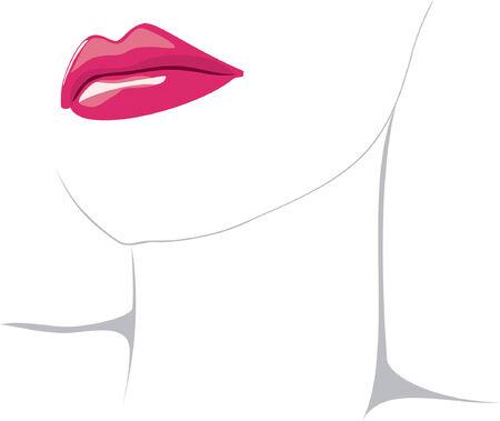 lip shine: Illustrazione vettoriale di rosso donna labbra isolato su sfondo bianco