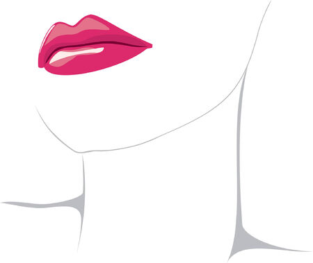 Vector illustration of red woman lips isolated over white background