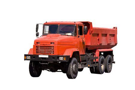 camion de basura: Industriales pesados naranja volquete aislado m�s de fondo blanco