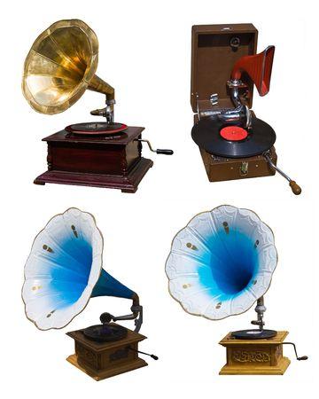 gramaphone: collection vintage gramophones Stock Photo