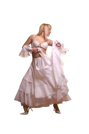 sexy blonde girl: Młoda sexy blonde girl dancing Zdjęcie Seryjne