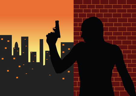 Armed man vector silhouette Vector