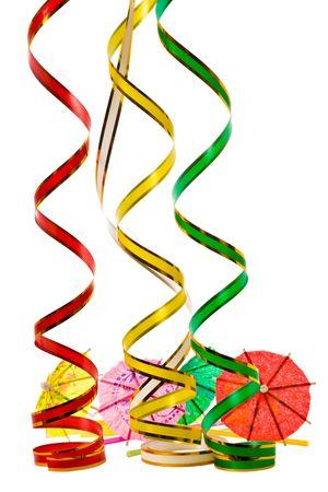 paper umbrella: Multicolored parasol and ribbons