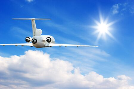 Commercial airliner flying in high sky Stock Photo - 3363439
