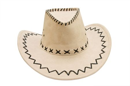stetson: Leather stetson hat isolated over white background