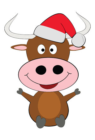 Vector Happy christmas cow isolated over white Illustration