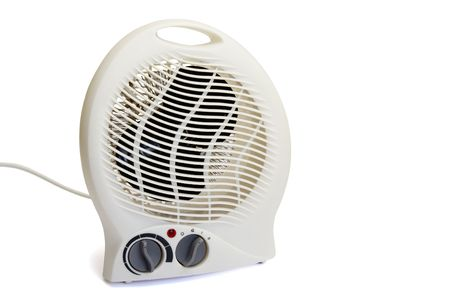 handlers: Electric heater with temperature controls isolated over white Stock Photo