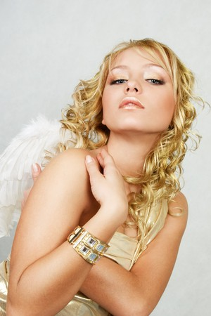 sexy angel: Beautiful blonde woman with angel wings Stock Photo