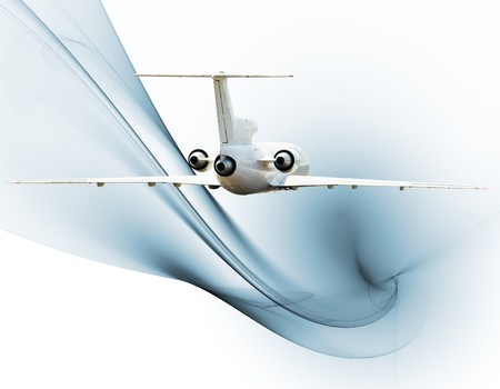 Jet airliner over blue fractal background Stock Photo